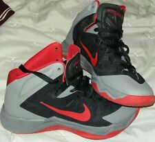 NIKE HYPERQUICKNESS BASKETBALL TRAINERS 6 UK BOOTS RED GREY BLACK FREE POSTAGE !