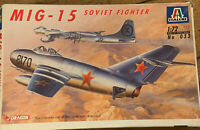 Vintage Italeri Model Kit 1:72, MiG-15 Soviet Fighter 033 Plane Aircraft