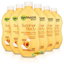 6x Garnier Summer Body Deep Even Tan Moisturiser Lotion 400ml Apricot Extract
