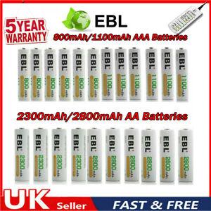 EBL AA & AAA Batteries Alkaline Power Long Lasting Rechargeable Batteries + Box