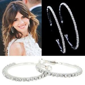 """Women's Fashion Jewelry Silver Plated Crystal Rhinestone 2"""" Hoop Earrings 20-1"""