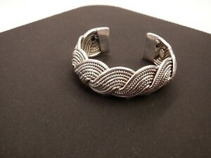 Vintage signed Zoe Coste Silver Tone Cuff Bracelet Made in France