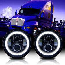 2x 7inch Round LED HALO Headlights Projector Headlamp For Kenworth T2000 T609