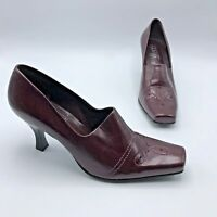 Franco Sarto Women Burgandy Square Toe Heel Shoe Size 8M Pre Owned