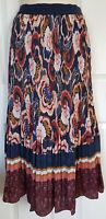M&S FLORAL PRINT LINED NAVY MIX SATIN CRINKLE PULL ON MIDI SKIRT SIZE 16-18 BNWT