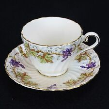 Aynsley ENGLISH BONE CHINA Grapes and Gold Trim Teacup and Saucer