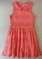 Marks & Spencer Girls Pink Lace Dress Fully Lined Casual Party 7-8 years