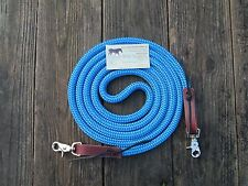 BLUE Yacht Rope 9' Trail Training  Loop Reins Leathers by Rose Lodge Equine USA