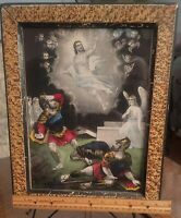 ANTIQUE VICTORIAN CURRIER & IVES HAND COLORED ENGRAVING MAMMA'S PET WALNUT FRAME