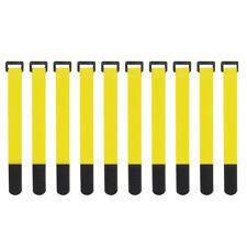 10x Yellow Self Adhesive Hook Loop Cable Ties Fastener Strap Cord Organizer 20cm