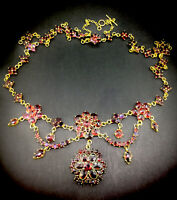 Antique Garnet 9CT Necklace Yellow Gold Flowers Open Back Impressive Circa1895s