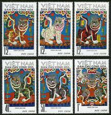 Viet Nam 644-649, MI 675-680, MNH. Folk paintings, Tigers, 1971