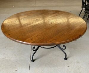 "Arhaus Reclaimed Wood Round Dining Table 60"" Arabesque wrought iron base AMAZING"
