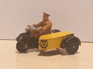 DINKY 44b AA PATROL MOTOR CYCLE & SIDE CAR; * ORIGINAL 1946-50 *; VGC