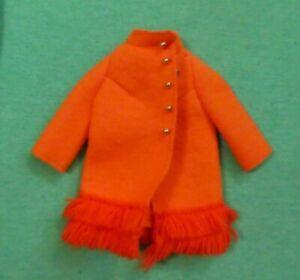 Vintage Barbie Doll Clothes - MOD Era Barbie 1789 Fiery Felt Orange Coat