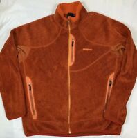 Patagonia Polartec R2 Regulator Full Zip Fleece Jacket Men's SZ XL Orange EUC