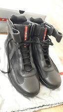 Prada Nevada Bike Hi Top Men's Trainers Sneakers Black Leather Mesh, UK Size 7