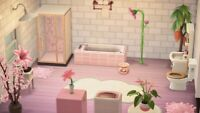 Animal Crossing New Horizons 💗beautiful bathroom in white pink💗
