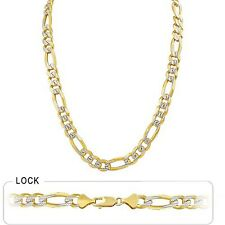 "Pave Men's Figaro Chain Necklace Polish 9.40mm 30"" 97.00gm 14k Gold Yellow White"