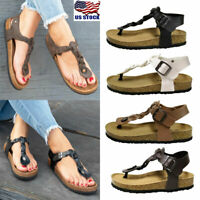 US Womens T-Strap Buckle Sandals Twist Flip Flops Ladies Summer Beach Shoes Size