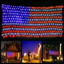 American Flag Lights with 420 Super Bright LEDsKAZOKU Waterproof Led Flag Net...