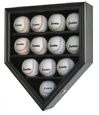 12 Baseball  Display Case  Holder Shadow Box Wall Cabinet-Mahogany, B12-BL