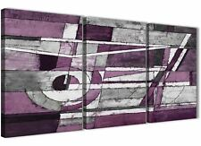 3 Panel Aubergine Grey White Painting Kitchen Canvas - Abstract 3406 - 126cm