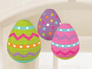 Easter Egg Paper Lanterns Hunt Party Hanging Decorations x 3