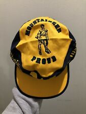 Vintage 80s West Virginia Mountaineers Painters Cap Hat OSFA RARE Blue Yellow