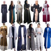 Dubai Abaya Jilbab Women Open Cardigan Kaftan Muslim Maxi Dress Arab Cocktail