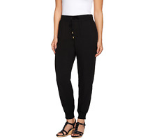 Whitney Port Pull On Jogger Pants With Pockets Size 12 Black Color