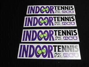 "Lot of 4 VTG TCU ""Indoor Tennis"" 1980's bumper sticker ~ 8108"