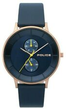 Police Men's Classic Quartz Watch Rose Gold Case Blue Leather Strap 15402JSR/03
