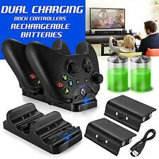 Dual Charger Dock+2 Rechargeable Battery Packs For Xbox One Controller BC493