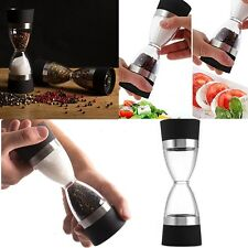 Portable 2 in 1 Manual Pepper Salt Shaker Spice Mill Grinder Hourglass Design US