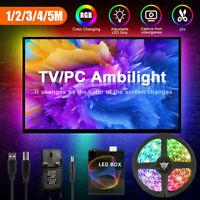 DIY Lamp TV PC Dream Screen 5V USB LED Strip Lights Backlight 5050 RGB 3-5M