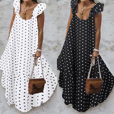 Womens Bohemian Beach Holiday Short Sleeve Kaftan Polka Dot Long Maxi Dress Plus