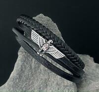 Leder Biker Armband Herren Damen Edelstahl Armkette Kette Adler Surfer Magnet