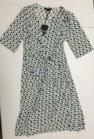 DKNY Women's Surplice Printed Faux Wrap Dress White Size Medium M