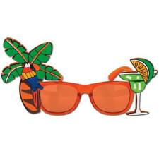 Luau Party Palm Tree and Parrot Fancy Frame Sun Glasses