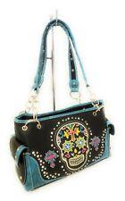 Concealed Carry Gun Cross Flower Sugar Skull Handbag Purse Black Turquoise Blue