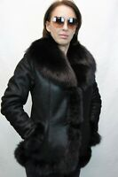 100% REAL SHEEPSKIN SHEARLING LEATHER, REAL FOX FUR BUTTONS JACKET COAT XS-6XL