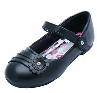 GIRLS KIDS CHILDRENS BLACK SCHOOL PUMPS SMART FLAT INFANT DRESS SHOES SIZE UK 9