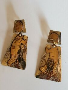 NEW! VINTAGE - IXEL SIGNED - HANDCRAFTED ARTISAN POST BACK EARRINGS ~women/man~~