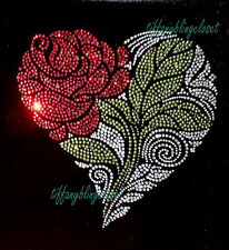 "HOTFIX RHINESTONES Heat transfer Iron on "" Beautiful heart rose flower """
