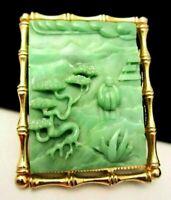 "Rare Vtg 2-1/2"" Signed Hattie Carnegie Goldtone Jade Asian Buddha Brooch/Pendant"