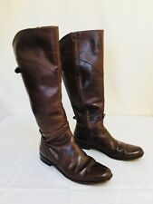 Womens L.L. Bean brown leather knee high equestrian riding boots side zip Sz 8.5