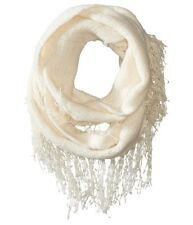 Betsey Johnson Fuzzy Logic Infinity Loop Tassel Fringe Cowl Scarf Ivory #6398