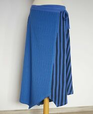 GUDRUN SJODEN Organic Cotton Striped Blue Purple Wrap Up Midi Skirt, Size:M