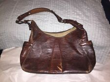 Vintage BRAHMIN Brown Lizard Embossed Leather Handbag Purse